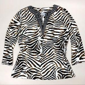 Chico's Brown Zebra Print Blouse